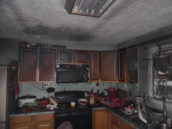 Example of kitchen with fire damage